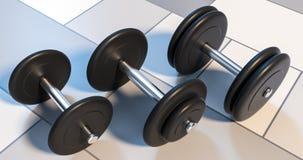Tres pesas de gimnasia que se colocan en el ejemplo de la fila 3d Imágenes de archivo libres de regalías
