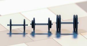 Tres pesas de gimnasia que se colocan en el ejemplo de la fila 3d Imagenes de archivo