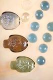 Tres pescados y burbujas de cristal Imágenes de archivo libres de regalías