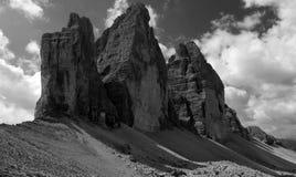 Tres picos en blanco y negro Imágenes de archivo libres de regalías