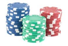 Tres pilas de microprocesadores del casino Fotos de archivo