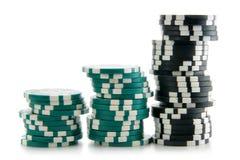 Tres pilas de virutas del casino Fotos de archivo