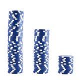 Tres pilas de virutas del casino Imagen de archivo libre de regalías