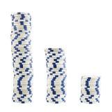 Tres pilas de virutas del casino Fotografía de archivo libre de regalías