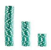 Tres pilas de virutas del casino Foto de archivo