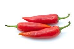 Tres pimientas de chile rojo Foto de archivo libre de regalías