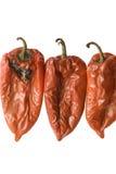 Tres pimientas rojas cocidas al horno Fotos de archivo