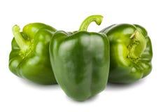 Tres pimientas verdes dulces Imágenes de archivo libres de regalías