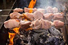 Tres pinchos con la carne cruda en el fuego en parrilla Fotos de archivo libres de regalías