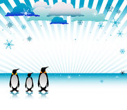 Tres pingüinos en el hielo libre illustration