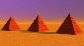 Tres pirámides estriadas rojas en desierto stock de ilustración