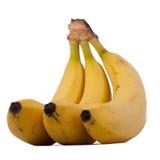 Tres plátanos aislados en el fondo blanco Imagen de archivo libre de regalías