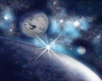Tres planetas desconocidos en un espacio inmenso stock de ilustración