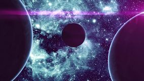 Tres planetas en espacio exterior stock de ilustración