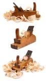 Tres planos del viejo carpintero de madera Foto de archivo