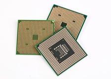 Tres procesadores de la computadora portátil Imágenes de archivo libres de regalías