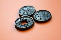 Tres productos del chocolate bajo la forma de euro, E.E.U.U. y Japón acuñan Fotos de archivo