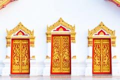 Tres puertas anheladas de pintura con la pintura tailandesa Fotos de archivo