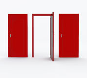 Tres puertas rojas Foto de archivo libre de regalías