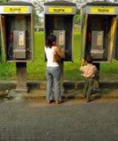 Tres quioscos de teléfono Asia Fotos de archivo