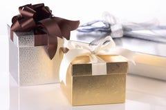 Tres rectángulos de regalo Foto de archivo libre de regalías