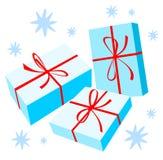 Tres rectángulos de regalo Fotos de archivo libres de regalías