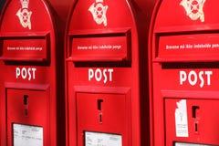 Tres rectángulos rojos del poste fotografía de archivo libre de regalías