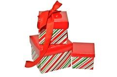 Tres rectángulos de regalo con la cinta Foto de archivo libre de regalías
