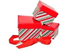 Tres rectángulos de regalo con la cinta Fotografía de archivo libre de regalías