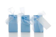 Tres regalos azules Fotografía de archivo