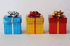 Tres regalos de la Navidad Fotografía de archivo