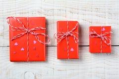 Tres regalos de las tarjetas del día de San Valentín Fotografía de archivo libre de regalías