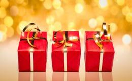 Tres regalos rojos Imagen de archivo libre de regalías