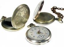 tres relojes de bolsillo antiguos Imágenes de archivo libres de regalías