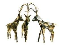 Tres renos de oro de la Navidad Fotos de archivo
