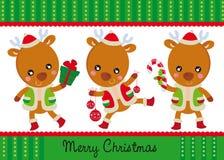 Tres renos felices Imágenes de archivo libres de regalías