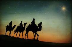 Tres reyes Desert Star de concepto de la natividad de Belén Imágenes de archivo libres de regalías