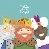 Tres reyes felices que sonríen y texto español en un fondo verde ilustración del vector