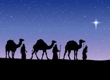 Tres reyes sabios que siguen la estrella de Belén Vector Illustratio stock de ilustración