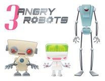 Tres robots enojados stock de ilustración