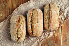Tres rodillos de pan imagen de archivo