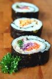 Tres rodillos de sushi Fotografía de archivo
