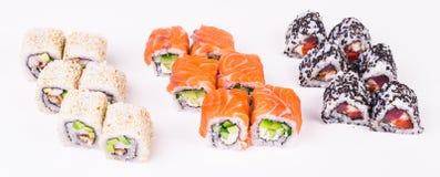 Tres rodillos de sushi Fotografía de archivo libre de regalías