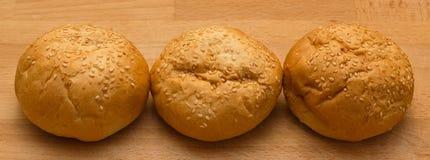 Tres rollos de hamburguesa Foto de archivo libre de regalías