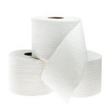 Tres rollos de papel higiénico perforado blanco Foto de archivo libre de regalías