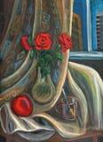 Ramo de rosas en un florero de cristal stock de ilustración