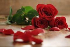 Tres rosas rojas y pétalos en la tabla de madera vieja Foto de archivo