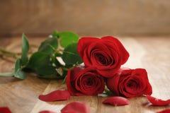 Tres rosas rojas y pétalos en la tabla de madera vieja con el espacio de la copia Fotos de archivo libres de regalías