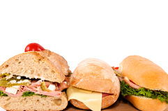 Tres sandwichs Fotos de archivo