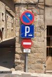 Tres señales de tráfico Fotos de archivo libres de regalías